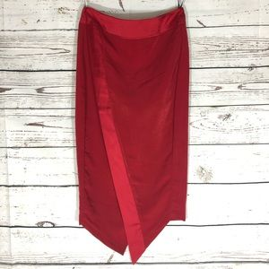 Missguided Asymmetrical Pencil Skirt Red